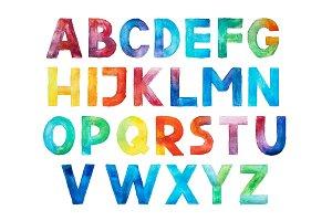 Colorful watercolor aquarelle font