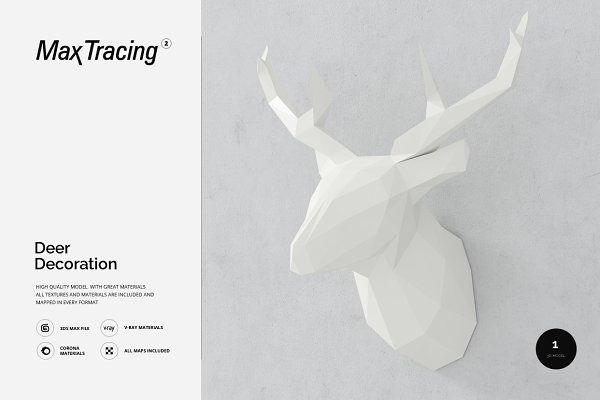 3D Models - Deer decoration