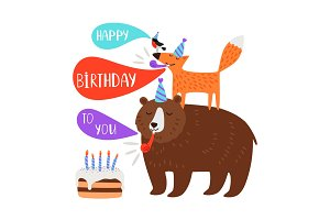 Children birthday party card animals