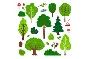 Cartoon forest tree set