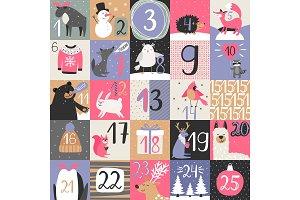 Advent calendar with winter animals