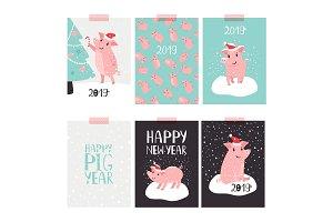 Christmas pig 2019 cards