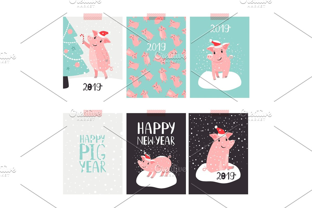 8af509d82df23 Christmas pig 2019 cards ~ Graphic Objects ~ Creative Market