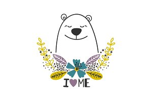 Love yourself icon with polar bear