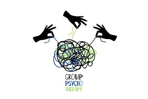 Psychotherapy icon hands untangling