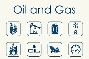 oil and gas simple icons