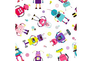 Robots or aliens kids pattern