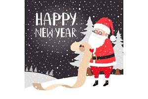 Santa reading presents list card