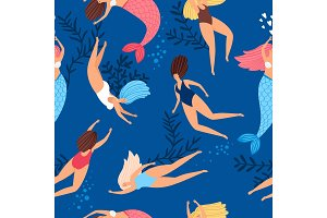 Swimmers girls and mermaids pattern