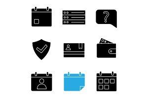 UI/UX glyph icons set