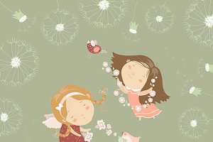 Two little angels with flowers