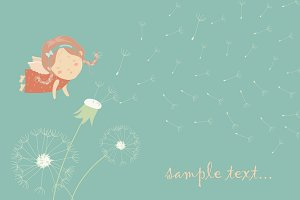 Cute angel blowing on a dandelion