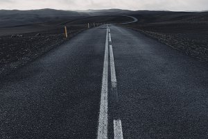 Black road in Iceland