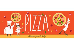 Chef and Pizza Banner