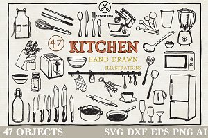 Kitchen Hand Drawn Illustration Pack
