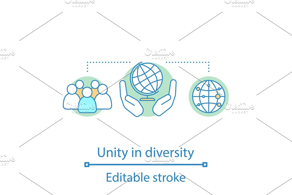 Unity in diversity concept icon