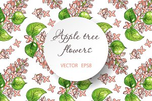 Apple flowers seamless pattern.