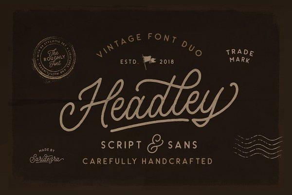 Script Fonts: Sarid Ezra - Headley - Vintage Font Duo (30% OFF)
