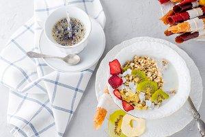 Homemade granola for healthy breakfa