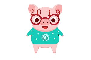 Cartoon pig, 2019 new year symbol