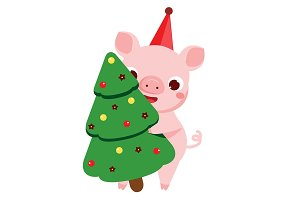 Cartoon pig 2019 new year symbol