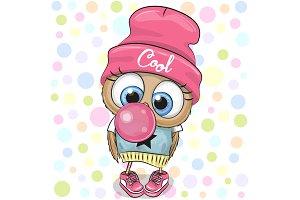 Cute Cartoon Owl with bubble gum