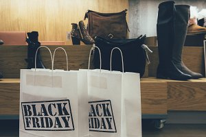 Black Friday paper bags in a store