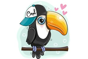 Cartoon Toucan is sitting on a
