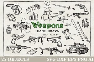 Weapons Hand Drawn Illustration Pack