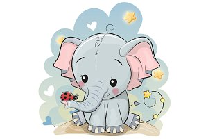 Cute cartoon Elephant with Ladybug