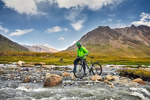 Man ride bicycle in the mountain