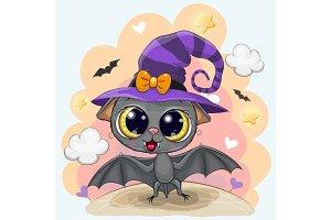Cute Bat in a halloween hat