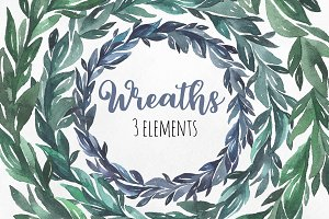 Watercolor green and blue wreaths