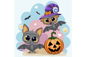 Greeting Halloween card with two