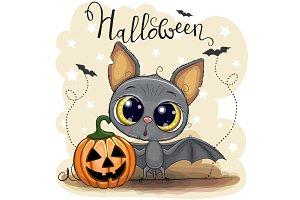 Cute Cartoon Bat with pumpkin