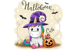Cute Cartoon Unicorn with pumpkin