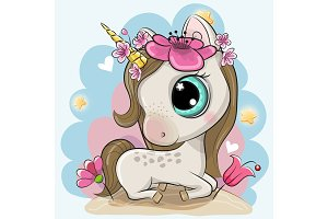 Cartoon Unicorn with flowers on a