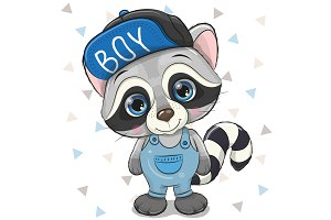 Cute Cartoon Raccoon in cap on a