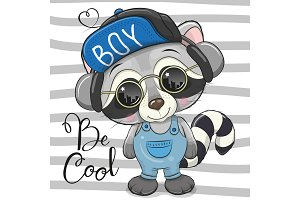 Cool Cartoon Cute Raccoon with sun