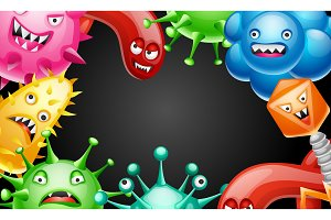 Background with little angry viruses