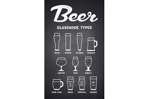 Beer glassware types. Poster or