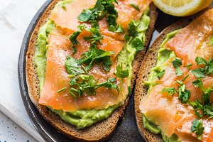 Rye bread avocado toasts with smoked