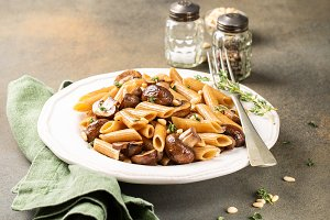 Homemade whole grain pasta penne