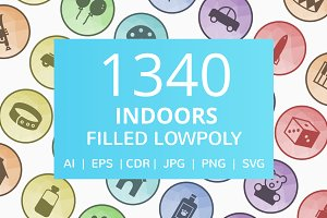 1340 Indoors Filled Low Poly Icons