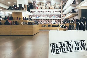 Black Friday paper bag in a shop