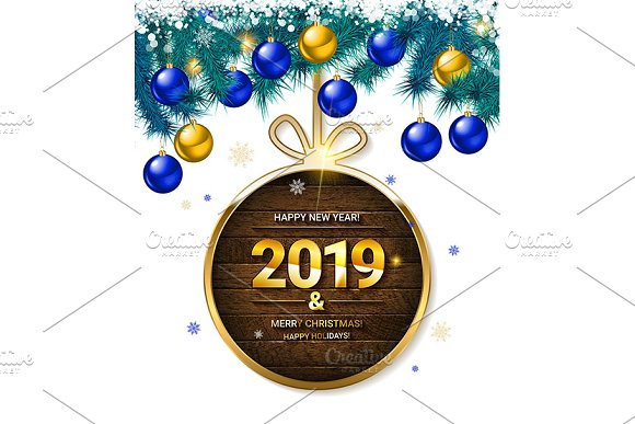 2019 New Year Greeting Cards Graphics Creative Market