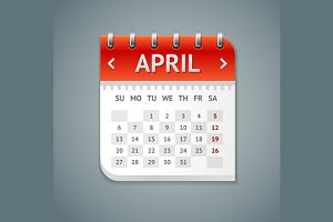Vector Calendar April with Dates Set
