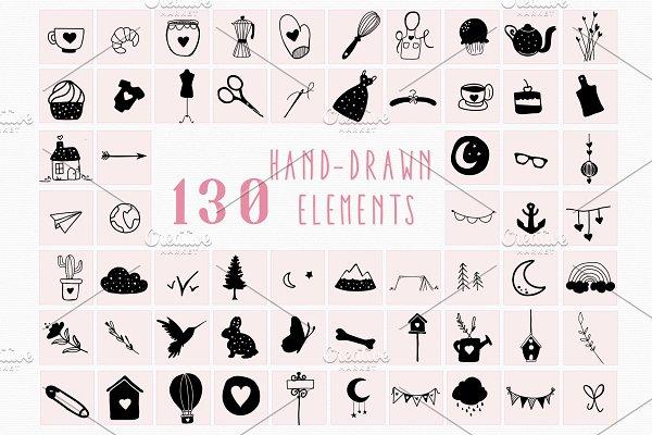 130 Hand Drawn Elements