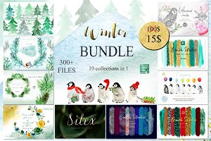 Winter watercolor bundle