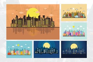 6 City Cityscape Skyline Street Set